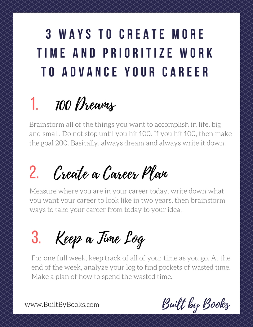 Try these 3 activities to create more time in your week and prioritize your work in a way that advances your career.