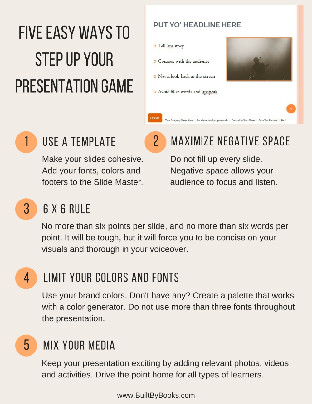 Five easy ways to tweak your next presentation. With visual aids, less is more.