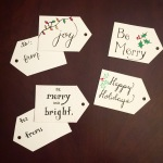 Create your own gift tags with thick paper, an ink pen and markers!